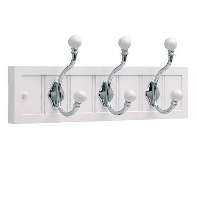 18 Inch Cottage Rail with 3 Balltop Hooks