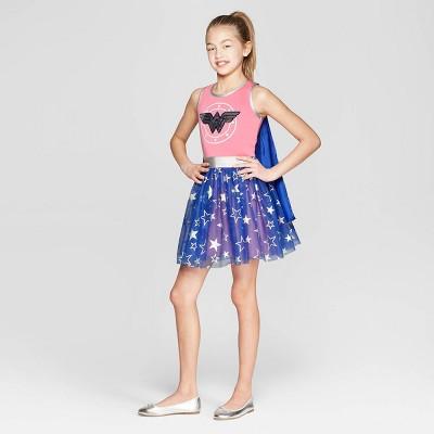 Girls' Wonder Woman Stars Flip Sequin Tank Dress - Pink/Blue