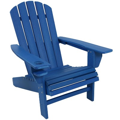 sunnydaze plastic all weather heavy duty outdoor adirondack patio chair with drink holder blue
