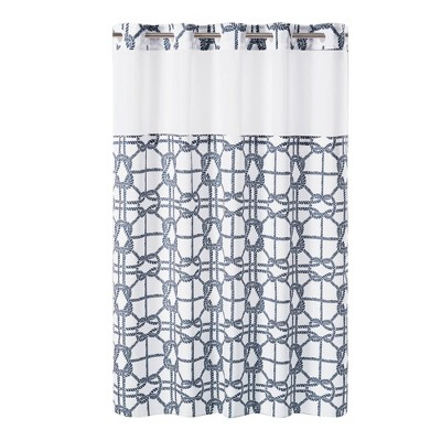 Nautical Lattice Shower Curtain with Liner Navy - Hookless