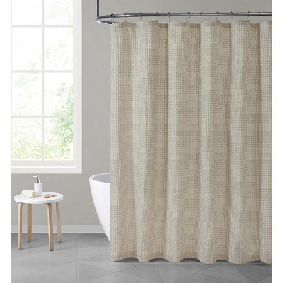 hotel collection premium waffle weave mold mildew resistant fabric shower curtain by kate aurora beige taupe