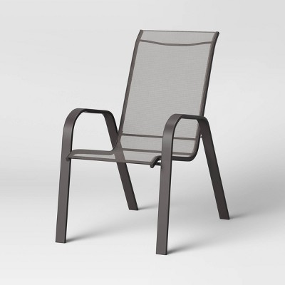 sling stacking patio chair gray room essentials