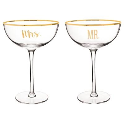 """2ct """"Mr. & Mrs."""" Gold Rim Coupe Flutes"""