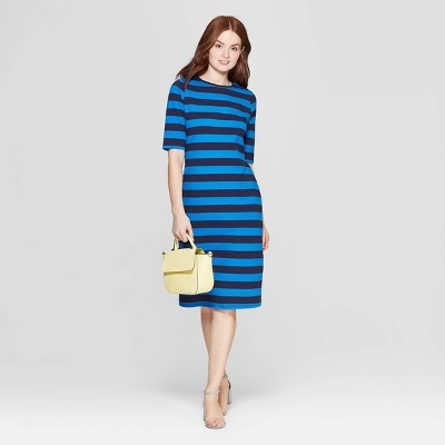 Women's Striped 3/4 Sleeve Crewneck Knit Dress - A New Day™ Navy