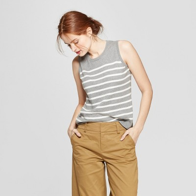 Women's Striped Crewneck Sweater Tank - A New Day™