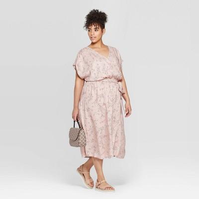 Women's Plus Size Short Sleeve Woven Faux Wrap Dress - Ava & Viv™