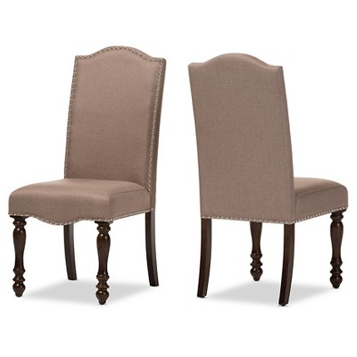vintage oak dining chairs mid century chair upholstery zachary chic french brown beige linen fabric upholstered set of 2 baxton studio