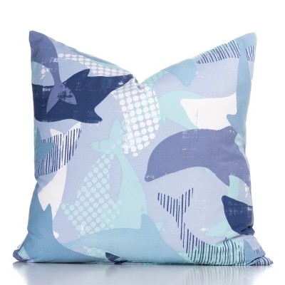 "20""x20"" Life Porpoise Accent Throw Pillow With Sham Light Blue - Crayola"