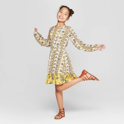 Girls' Floral Long Sleeve Smocked Dress - art class™ Yellow