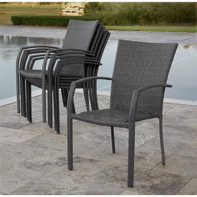 6pk lakewood ranch steel and wicker patio dining chairs gray blue room joy