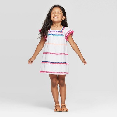 Toddler Girls' Embroidered A-Line Dress - Cat & Jack™ White