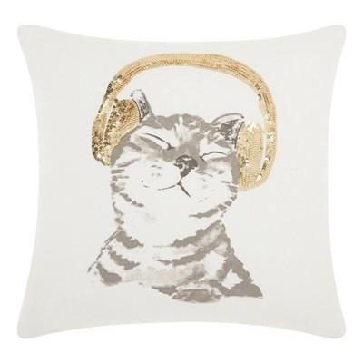 dj glitter kitten square throw pillow white gold mina victory
