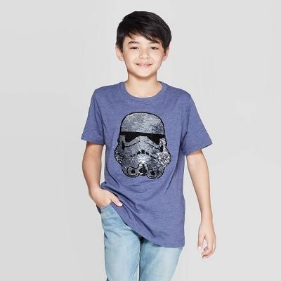 Boys' Americana Star Wars Stormtrooper Flip Sequin Short Sleeve T-Shirt - Blue