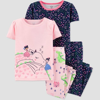 Baby Girls' 4pc White Dragon Pajama Set - Just One You® made by carter's Pink/Navy