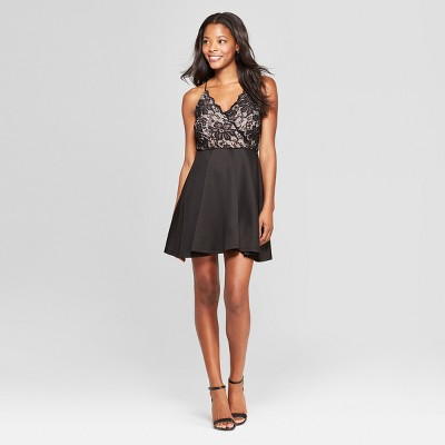 Women's Sleeveless Lace Detail Dress - Lily Star (Juniors') Black