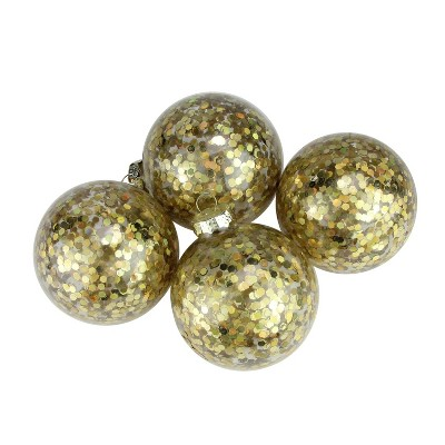 """Commodore 4ct Flashy Holographic Sequin Glass Ball Christmas Ornaments Set 2.5"""" - Gold"""