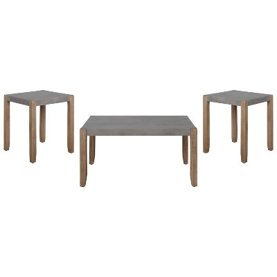 36 davenport faux concrete and wood coffee table with 2 square end tables light amber alaterre furniture