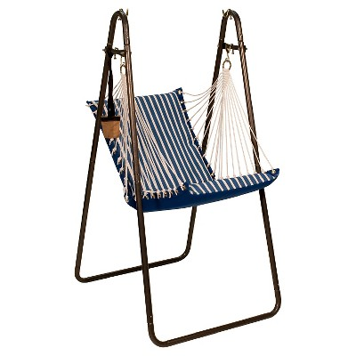 swing chair metal revolving price in pakistan algoma sunbrella soft comfort hanging with stand shore regatta stripe canvas solid