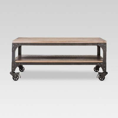 franklin coffee table wood brown weathered gray threshold
