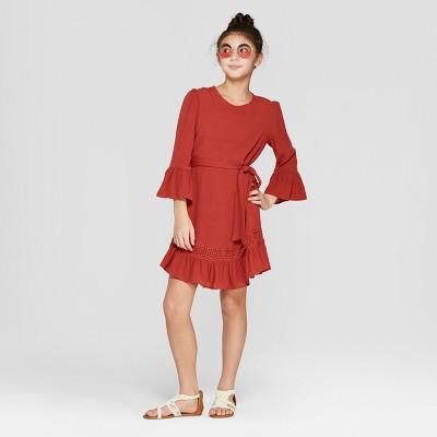 Girls' Lace Detailed Dress - art class™ Brick Red