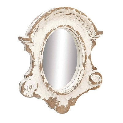35 x 43 antique style large oval distressed wood wall mirror with scrollwork white olivia may