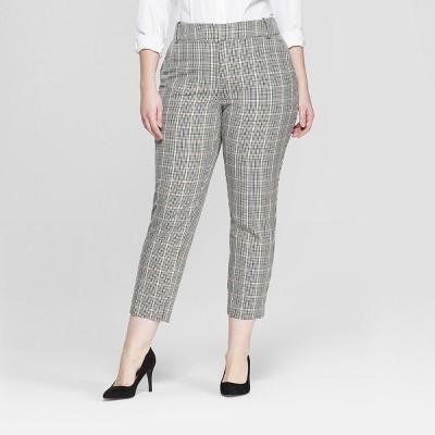 Women's Plus Size Plaid Comfort Waistband Plaid Ankle Pants - Ava & Viv™ Gray