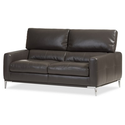 Vogue Modern and Contemporary Pewter Bonded Leather Upholstered Living Room 2 - Seater Loveseat Settee - Dark Gray - Baxton Studio