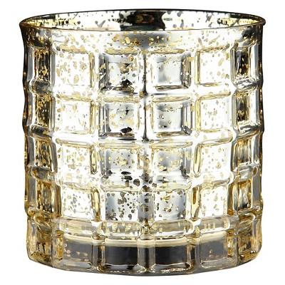 "4.5""x5"" Gold Glass Vase - Diamond Star"