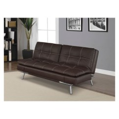 Serta Bonded Leather Convertible Sofa Extra Deep Seated Morgan Double Cushion In Dark Brown With Tan Stitching