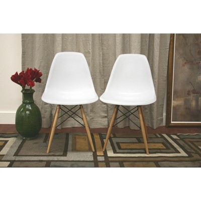 white plastic dining chairs chair covers and tablecloth rentals azzo side set of 2 baxton studio target