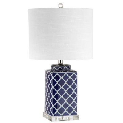 "23"" Clarke Chinoiserie LED Table Lamp Blue (Includes Energy Efficient Light Bulb) - JONATHAN Y"