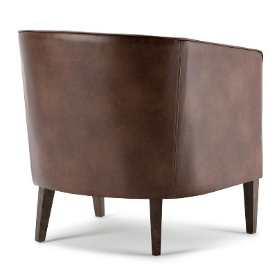 tub chair brown leather wedding cover hire york walker distressed bonded wyndenhall target