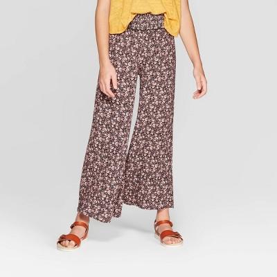 Girls' Floral Smocked Waist Pants - art class™