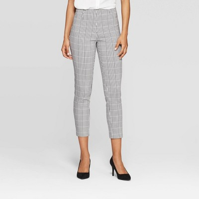 Women's Plaid High-Rise Skinny Pants - A New Day™ Cream