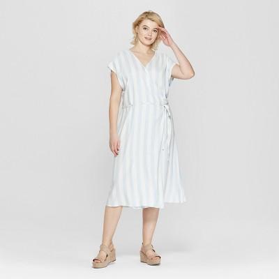 Women's Plus Size Striped Short Sleeve V-Neck Wrap Maxi Dress - Ava & Viv™ Blue/White