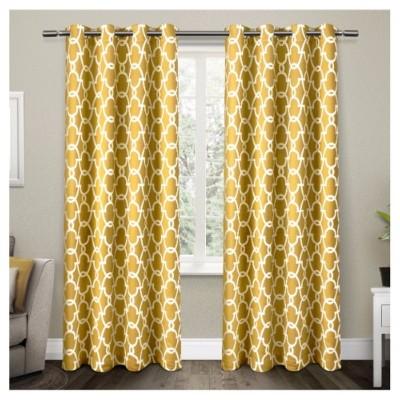 Gates Sateen Woven Room Darkening Grommet Top Window Curtain Panel Pair - Exclusive Home™