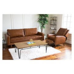 Recliner Living Room Set Themes Modern Calvin Mid Century Leather Sofa And Camel Abbyson Target