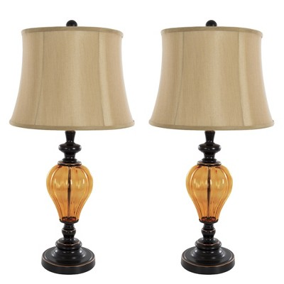 Table Lamps Amber Glass Set of 2 (Includes Energy Efficient Light Bulb) - Yorkshire Home