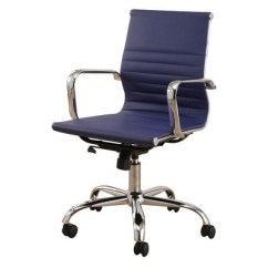 Blue Leather Office Chair Foldable Adirondack Jackson Silver Finish Navy Abbyson