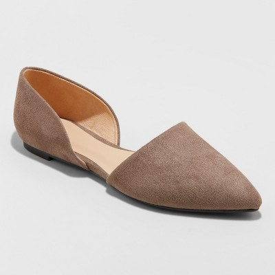 Women's Rebecca Microsuede Pointed Two Piece Ballet Flats - A New Day™ Taupe 9.5