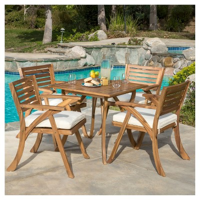 hermosa 5pc acacia wood patio dining set with cushions teak finish christopher knight home