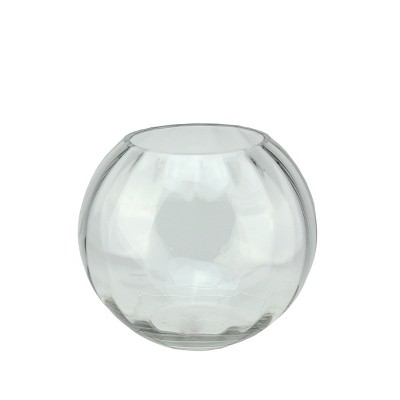 "Northlight 8.75"" Round Segmented Transparent Glass Bowl - Clear"
