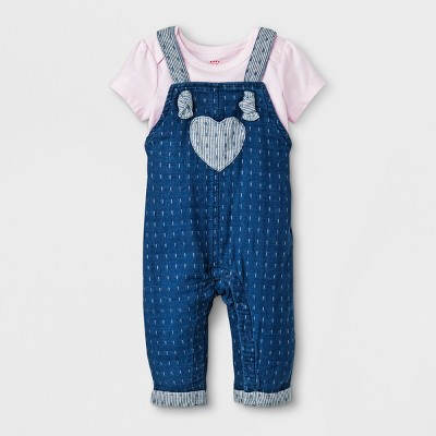 Baby Girls' Short Sleeve T-Shirt and Denim Overall Set - Cat & Jack™ Pink/Blue