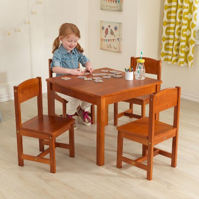 kidkraft farmhouse table and chair set espresso steel office cost 4 pecan target