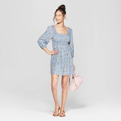 Women's Floral Print 3/4 Sleeve Square Neck Off the Shoulder Smocked Top Dress - Xhilaration™