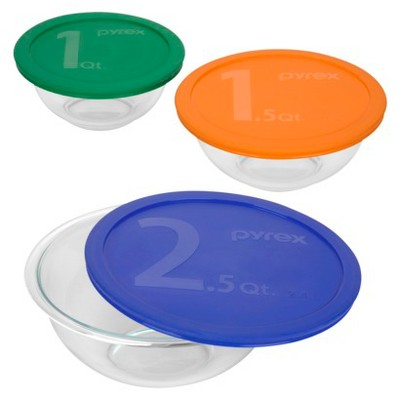Pyrex Smart Essentials Mixing Bowl Set with Multicolor Lids 6 piece