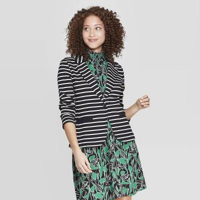 Women's Striped Ponte Knit Blazer - A New Day™ Black