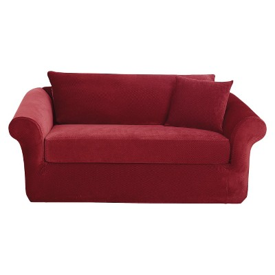 sure fit stretch pique 3 piece t cushion sofa slipcover extra large cotton throws target