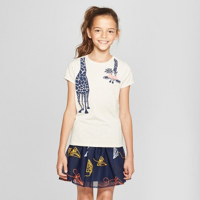 Girls' Short Sleeve Giraffe Graphic T-Shirt - Cat & Jack™ Ivory