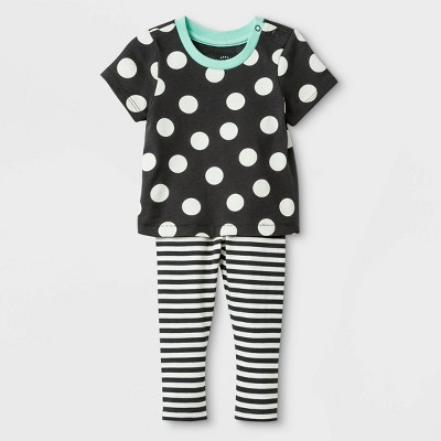 Baby Girls' 2pc Cross-back Jersey Top & Span Jersey Leggings Bottom Set - Cat & Jack™ Black